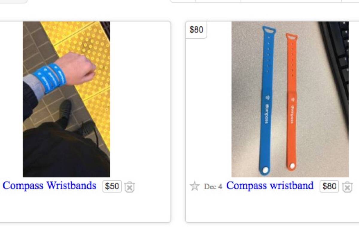 Compass Wristbands Pop Up On Craigslist After Translink Sells Out