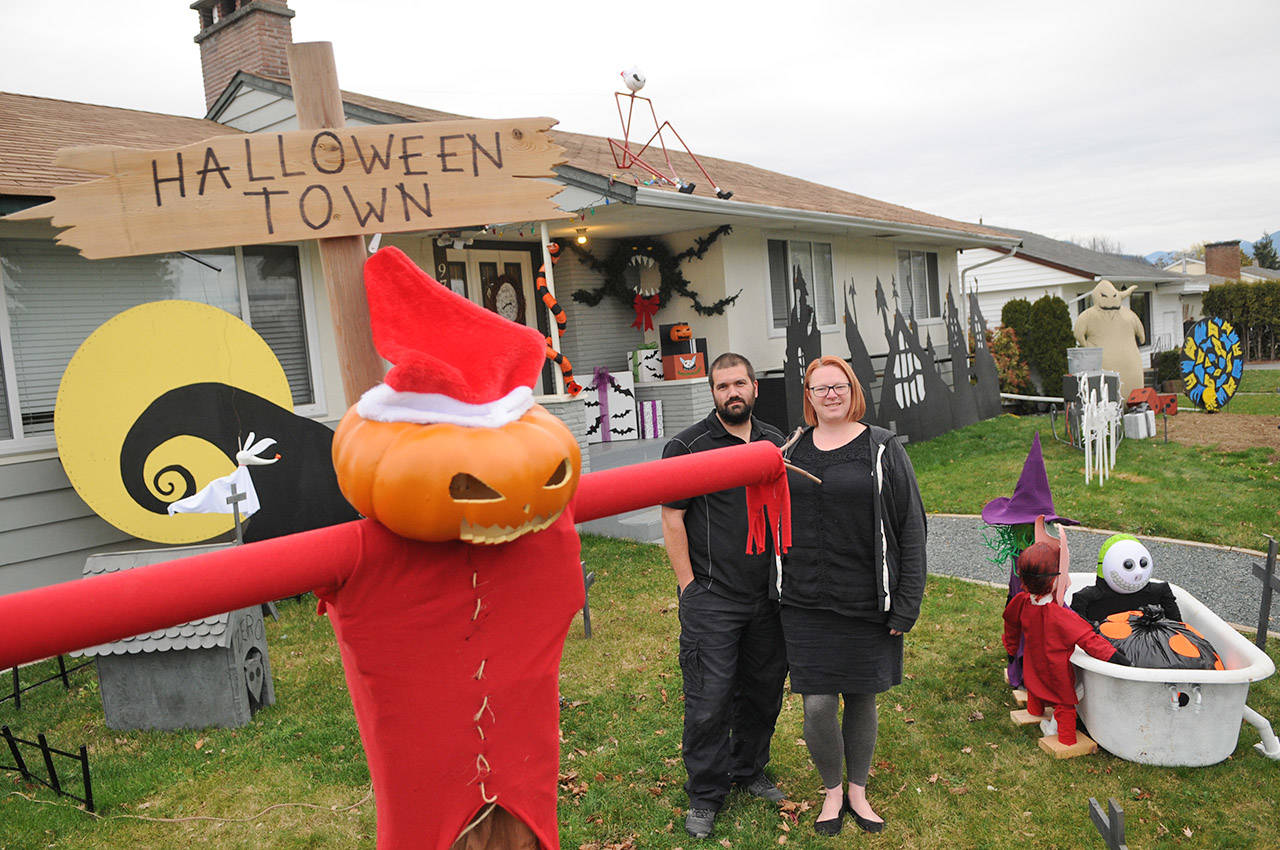 Oogie Boogie, Sandy Claws and coffin sleigh part of B.C. couple's holiday display