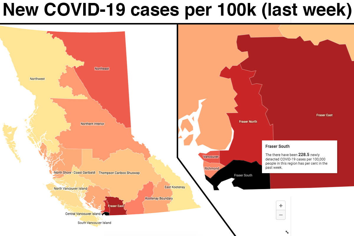 Map Charts One Of Every 420 Fraser Valley Residents Has Tested Positive For Covid 19 The Last Month Abbotsford News
