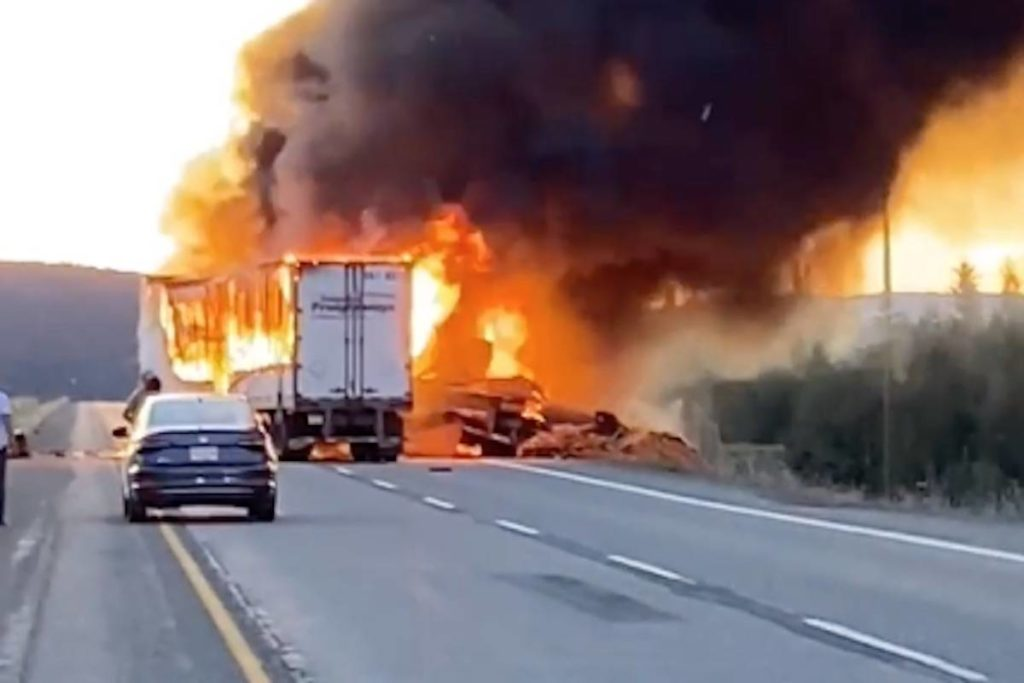One dead after fiery Okanagan Connector crash between two semis - Abbotsford News